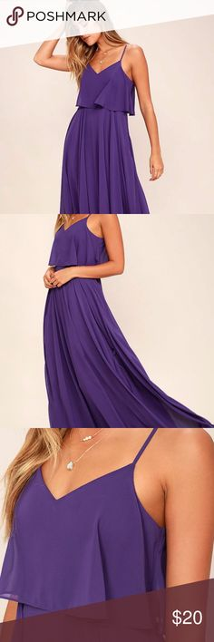 Lulus Purple Maxi Dress NWOT Purple woven poly falls from adjustable straps into a tiered, triangle bodice above a cascading maxi skirt full of volume. Hidden side zipper. Fully lined. 100% Polyester. Fits true to size  New without tags - never worn Lulu's Dresses Maxi