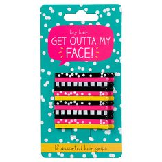 Buy Happy Jackson Get Outta My Face Hair Grips, Pack of 12 from our Hair Accessories range at John Lewis & Partners. Childrens Christmas Gifts, Childrens Gifts, Kids Gifts, Bff Birthday Gift, Hair Grips, Kids Hair Accessories, Face Hair, Online Gifts, Gifts For Her