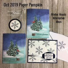 October 2019 Winter Woods Paper Pumpkin Plus Alternative Shadow Box Diy Craft Projects, Projects To Try, Diy Crafts, Christmas 2019, Xmas, Holiday Cards, Christmas Cards, Stampin Up Paper Pumpkin, Hand Stamped Cards