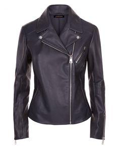 Leather Zip Biker Jacket   Jaeger