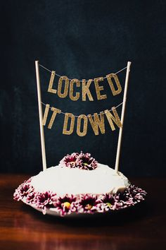 LOCKED+IT+DOWN+Alternative+Wedding+Cake+Topper+by+theBannerie
