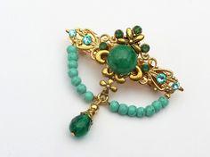 Kleine Haarspange in gold grün türkis von Schmucktruhe auf Etsy