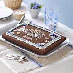 Un moelleux au chocolat au motif d'un poisson / A chocolate fondant with a fish drawing