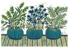 LINOCUT RELIEF PRINT - The Pots on My Deck  - Reduction Print - Wall Art Wall Decor
