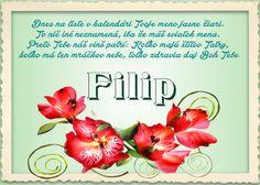 Filip Dnes na liste v kalendári Tvoje meno jasne žiari. To nič iné neznamená, iba že máš sviatok mena. Preto Tebe náš vinš patrí:  Koľko majú štítov Tatry, koľko má len mráčkov nebe, toľko zdravia daj Boh Tebe