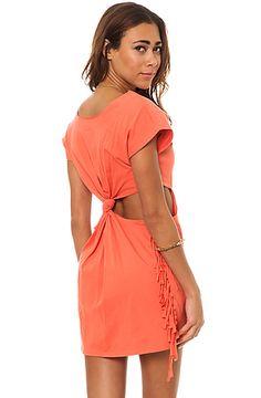RVCA Women's The Tempting Cutout Back Fringe Dress
