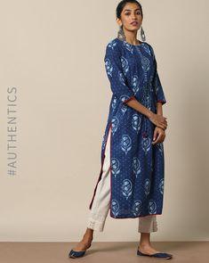 Discover recipes, home ideas, style inspiration and other ideas to try. Salwar Neck Designs, Silk Saree Blouse Designs, Kurta Designs Women, Kurta Cotton, Indigo Dress, Simple Kurti Designs, Kurta Style, Indigo Prints, Indian Designer Suits