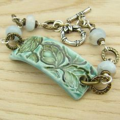 Aquamarine leaf ceramic bracelet brass silver by laurelmoonjewelry, $24.00: