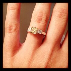 Her custom designed, 1 Carat Canary Yellow Diamond Engagement Ring! Simply Stunning!