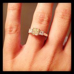 Her custom designed, 1 Carat Canary Yellow Diamond Engagement Ring! Simply Stunning!