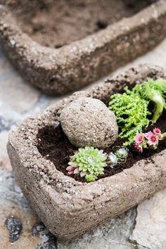 Že jste nikdy slovo hypertufa neslyšeli a nevíte, co si pod ním představit? Ujišťujeme vás, že pokud jste milovníky originálních dekorací kamenného vzhledu, zařadíte ho rychle do svého slovníku! Flower Boxes, Flowers, Beton Design, Container Plants, Natural Materials, Garden Inspiration, Concrete, Diy And Crafts, Succulents