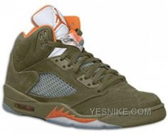 f13ba4796ed Jordan 5 Army Olive/Orange Retro Green Jordans, Nike Air Jordans, Jordan  Release