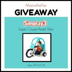 Simplay3 Super Coupe Pedal Trike Giveaway ~ Ends 10/16/17 - SaraLee's Deals Steals & Giveaways