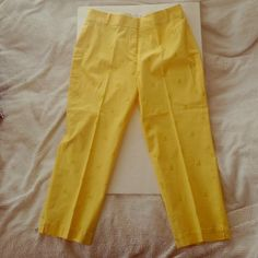 Talbots Ankle Pants Yellow Ankle Pants with humming Bird design must have for spring! Talbots Pants Ankle & Cropped
