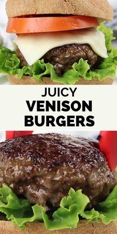 Moose Burger Recipe, Deer Burger Recipes, Ground Beef Burger Recipe, Ground Venison Recipes, Moose Recipes, Game Recipes, Venison Hamburger Recipe, Fruit Recipes, Ground Deer Recipes