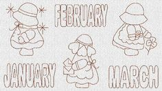 INSTANT DOWNLOAD Sunbonnet Sue Months Redwork by embroiderygirl, $7.00