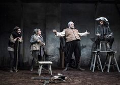 Druid Shakespeare: Charlotte McCurry as Peto, Clare Barrett as Bardolph, Rory Nolan as Falstaff, and Aisling O'Sullivan as Hal. Photo by Matthew Thompson.