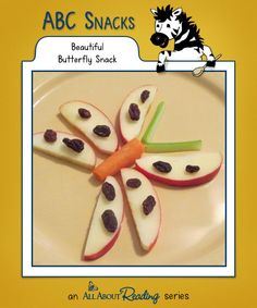 B is for Beautiful Butterfly: This is a great kid-friendly activity and a healthy snack. Find all our snacks at abc-snacks.com.
