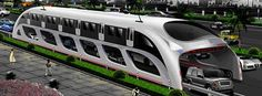 sustainable transportation, straddling bus, china, shenzhen, public transportation, green design
