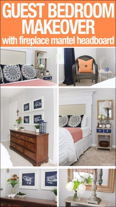 Navy and orange guest bedroom makeover!  Includes an awesome fireplace mantel headboard!