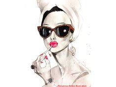 Art d'Audrey Hepburn print illustration de par RongrongIllustration