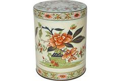 """Pretty Asian-inspired tin marked """"Made in England."""""""