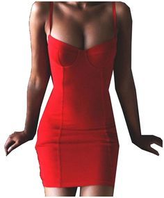 Coolred Women Party Skinny Solid Color Low-out Chest Bodycon Dress