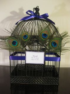 Peacock Wedding Birdcage Card Box Holder / by SouthburyTreasures, $62.00 Different style could spray paint ours