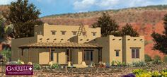 Santa Fe House Plan # 06312, Front Elevation, Southwestern Style House Plans