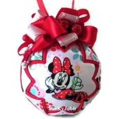 Minnie Mouse candy cane quilted Christmas Ornament soooo cute
