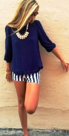 see more Beautiful Striped Mini Shorts with Navy Blue Blouse, Charming Necklace and Accessories