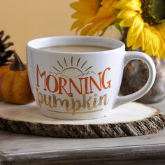 Brighten your mornings with our Morning Pumpkin Mug. The cute phrase in bright hues of orange and gold make it impossible to be upset, even if it is Monday!
