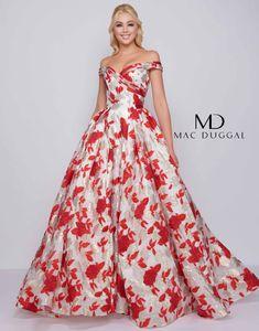 40dc1501d87 66588H - Mac Duggal Floral Print Ball Gown Grad Dresses