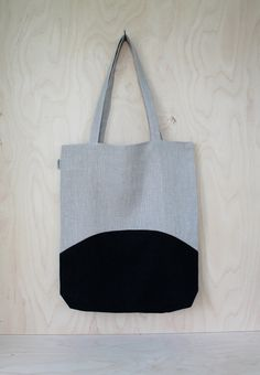 Large Linen Tote Handbag, Black and Natural Linen Tote Bag, Colourblock Market…