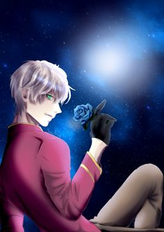 blue rose and the night sky Mystic Messenger Unknown, Mystic Messenger Game, Messenger Games, Saeran Choi, Aph England, Cry Now, All The Things Meme, Illustrations, Manga Games