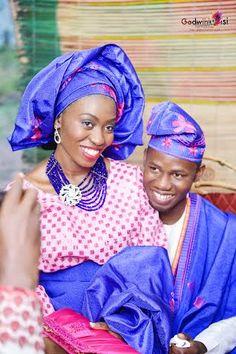 Nigerian wedding Yoruba couple pink & blue aso-oke colors Godwin and Adejoke Godwin Oisi Photography 17