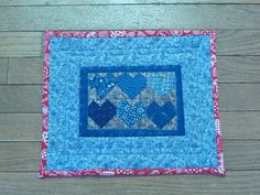 Miniature Shweshwe quilt: little hearts