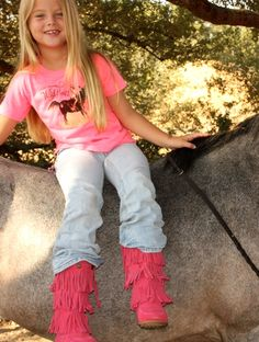 AHHH!!!! the absolute CUTEST boot ever!!!! HOt PINk, BUBBLe-GUM PINK 3-layer fringe boots! for your little gypsy!   they can run, play, dance and be hoo they be in these wonderful little boots!  in toddler and youth sizes!