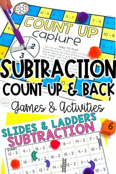 Practice subtraction by counting up & counting back in your classroom with this quick pack of subtraction games and activities! 1st and 2nd grade students will review counting up & counting back within 20 to help them subtract with these fun games! Games/activities included in this resource: slides & ladders, count up/back capture, subtraction race, and MORE! Perfect for small group instruction, centers, or at-home distance learning! Add to your cart now!