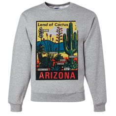 Vintage State Sticker Arizona Crewneck Sweatshirt - California Republic Clothes