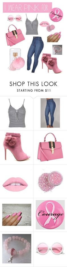 """I wear pink for courage🎀"" by princessgabbie ❤ liked on Polyvore featuring Topshop, Gucci, Ashley Stewart, ZeroUV, Ashlyn'd and IWearPinkFor"
