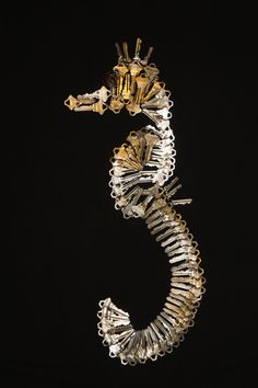 """Metal art for the wall """" Seahorse sculpture""""  Almost alive with a great expression on his face! Super cute metal animal handmade from 77 keys!  Best decoration for the wall. Art modern exclusive. Limited edition."""