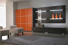 Orange And Grey Living Room   the three orange vases and then to the orange panelling although the ...
