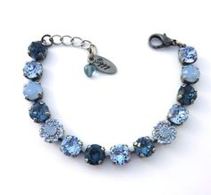 8mm Swarovski elements Denim Blue bracelet with by SiggyJewelry