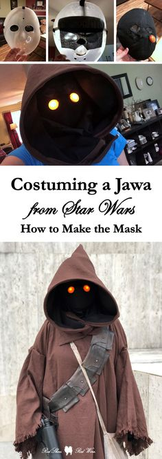 Costuming a Jawa from Star Wars: How to Make the Mask (501st, bandolier, blaster, brown linen, comicpalooza, conventions, cosplay, cosplayer, costume build, costumer, DIY, DragonCon, eyes, hood, light, maker, mask, may the fourth, nite ize, orange, robe, scavenger, sewing, sewist, spray paint, standards, star wars, utini, utinni, weathering, wizard pattern)