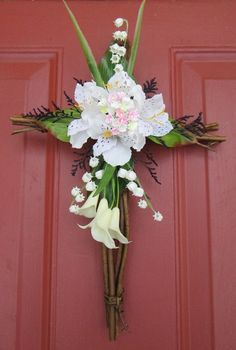 """Cross Wreath - 15x9"""" Grapevine Easter/Spring/Summer:Amazon:Home & Kitchen"""