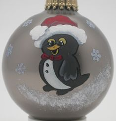 Hand Painted Custom Happy Little Penguin Christmas Ornaments and ...