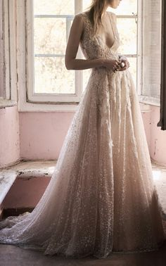 Lace Leaves Tulle Gown  by COSTARELLOS for Preorder on Moda Operandi
