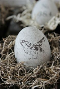 DIY Stamped Cement Eggs - Spring and/or Easter Decoration by Vintage with Laces