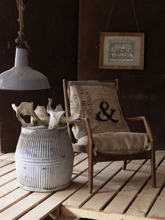 I like the rustic fabric on the chair. Lofts, Interior Decorating, Interior Design, Decorating Ideas, Decor Ideas, Piece A Vivre, Dark Walls, Modern Rustic Interiors, Dark Interiors